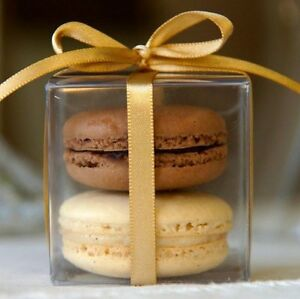 100pc 5cm Clear Macaron Square Boxes Bomboniere Wedding Favour Baby Shower