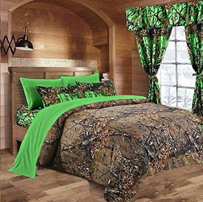 7 PC KING SIZE  WOODS NATURAL CAMO COMFORTER AND BIO GREEN SHEET SET CAMOUFLAGE