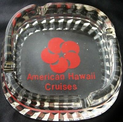 Vintage American Hawaii Cruises Logo Glass Ashtray