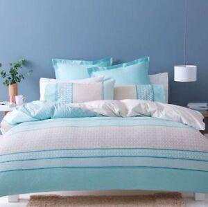 AVA Doona / Duvet / Quilt Cover Set Queen Bed Size Reversible Beige Blue White