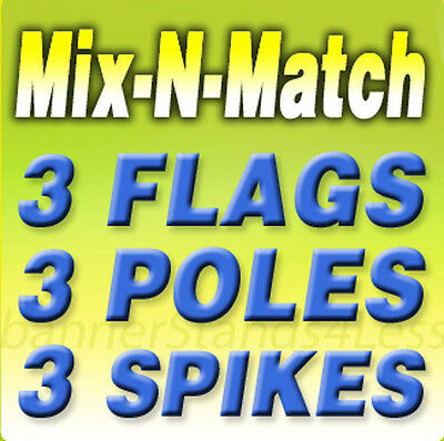 Swooper Flag Kits Feather Mix N Match 3 Pack Auto Repair Tires Brake Etc