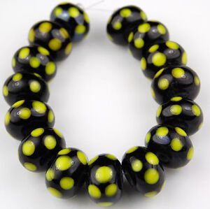HANDMADE-LAMPWORK-BEADS-Black-Yellow-Polka-Dot-Rondelle