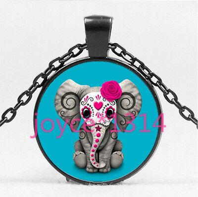 Elephant Sugar - Sugar Flower Elephant Cabochon Black Glass Chain Pendant Necklace HS-4456