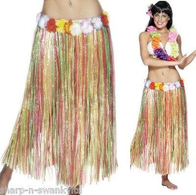 Damen Lang Hawaiianisches Hula-Mädchen Blumenmuster Bastrock Maskenkostüm ( (Langer Hula Rock)