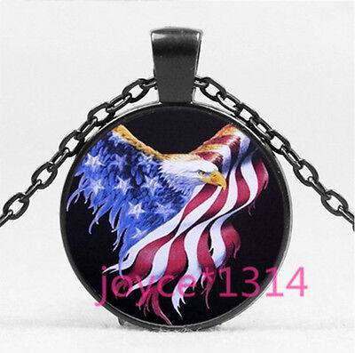 Eagle Glass Pendant - Bald eagle and Flag Cabochon black Glass Chain Pendant Necklace HS-5708