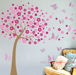 Huge 3D Butterflies Pink Cherry Blossom Tree Wall Stickers Art Decal Paper Girls