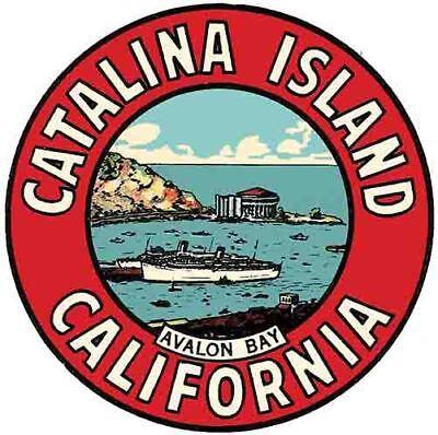 - Santa Catalina Island  CA   Vintage 1950's Style California Travel Decal sticker