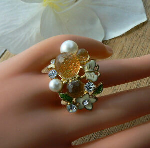 Gold-Fruity-Bloom-Ring-Butterfly-pearl-Crystals-Unusual-gift-for-her-Love-Mum