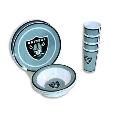 NFL 12 pc Melamine Dish Set - OAKLAND RAIDERS NEW NFL GEAR COLLECTIBLE for sale  Niagara Falls