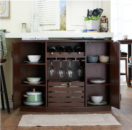 Details About Sideboard Buffet Cabinet Vintage Dining Room Server Removable Crate Wine Rack