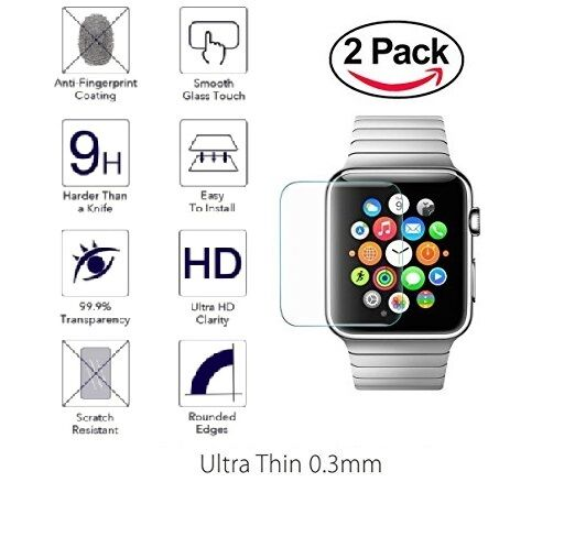 2-PACK Premium Tempered Glass Screen Film Protector For Apple Watch 42mm / 38mm Cell Phone Accessories