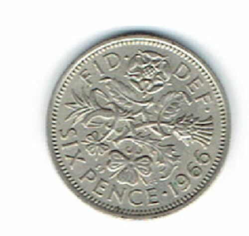 1966 GREAT BRITAIN QUEEN ELIZABETH II SIXPENCE IN CIRCULATED CONDITION