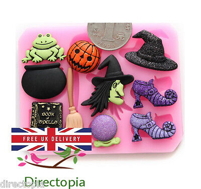 Silicone Witch Fairy Tale Halloween Fondant Sugar Paste Cake Decorating Mould - Sugarpaste Halloween Decorations