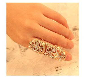 New-Fashion-Punk-White-Rhinestone-Inlay-Scroll-Armor-Joint-Knuckle-Finger-Ring