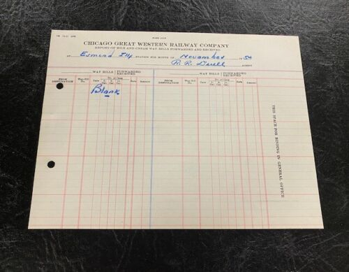 Chicago Great Western Railway Railroad Milk & Cream Report Form Esmond IL 1954