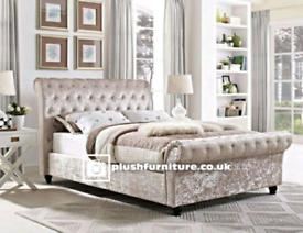 Luxury plush and crush velvet sleigh beds