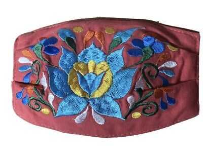 Handmade Embroidered Reusable Face Mask Mexican Style Artwork Darkish Salmon