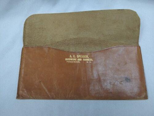 Vintage leather AE Speiser Hardware & Harness money document pouch Fessenden ND