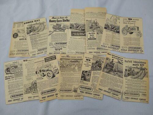Huge lot of 14 different 1950s Allis Chalmers dealer newspaper ads WD roto baler