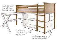 Aspace Midsleeper, 3 drawer chest and bookcase