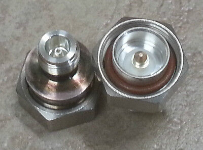 ANDREW 7/16 MALE TO N FEMALE RF coaxial ADAPTER x2 Silver Teflon highest quality