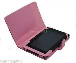 Pink  Leather Case Protective Cover for Barnes & Noble NOOK Color and Tablet