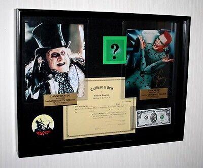 Batman  4  Props  Jim Carrey  Danny Devito Signed  Coa  Uacc  Blu Dvd  Shadowbox