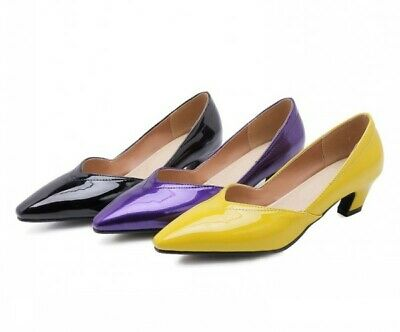 Womens Pointy Toe Kitten Heels Patent Leather Shoes Pumps Large Size OL Fashion