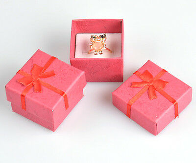 Wholesale Lots 24pcs Romantic Red Bowknot Ring Gift Boxes Jewelry Supplies Hot J