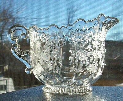 Vtg (1936-58) Cambridge Glass CHANTILLY ETCHED MARTHA CREAMER w/Ribbed Foot MINT