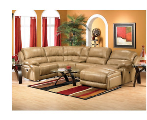 Marco 5 pc Tan Leather Sectoional
