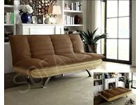 Brand New SOFA BED 3 Seater Fabric Pillow Top Faux Leather Base