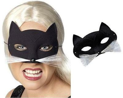 Fancy Dress Cat Face Mask with Whiskers Black/White New by Smiffys ()