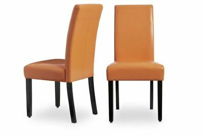 NEW Faux Leather Orange Kitchen Dining Chairs Set of 2 Bar Table Durable Cheap