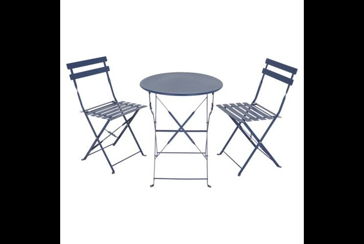 Heritage Navy 3 Piece Garden Patio Bistro Set With Folding Table And Chairs