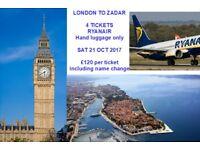 London to Zadar Ryanair 21 oct - 1 to 4 tickets