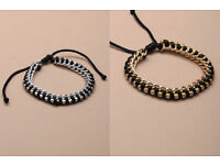 Black corded bracelet with either gold or silver coloured chain and diamante crystals - JTY071