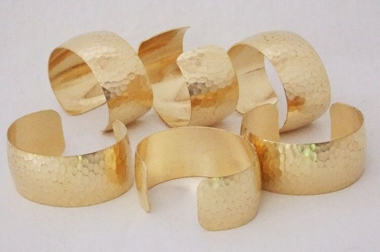 """Hammered Texture Raw Brass Bracelet Cuff Blanks Domed 1"""" Pkg Of 12"""