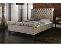NEW CRUSH VELVET SLEIGH BEDS - FABRIC UPHOLSTERED BEDS - WHITE GLOSS BEDS WITH STORAGE - DELIVERED