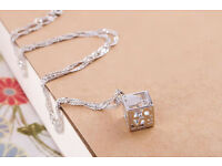 Women's/Girl's Chinese 925 Silver Love Cube Pendant Necklace & Silver Brace - New