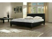 Furniture Free-(4ft6inch) Double & (5ft)King Size Leather Bed Frame W Opt Mattress-Chest of drawers