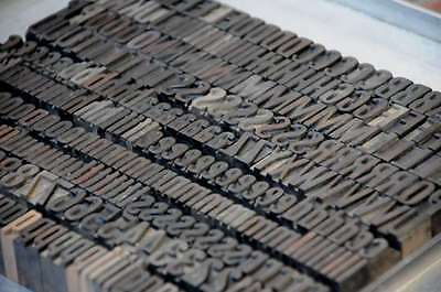 Rare Letterpress Wood Printing Blocks 283pcs 0.71 Wooden Characters Woodtype