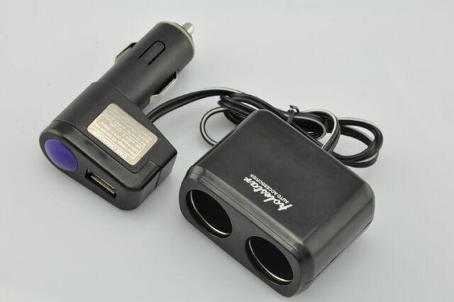 2 Socket Adapter Splitter Double USB Port Charger 12V/24V Car Cigarette Lighter