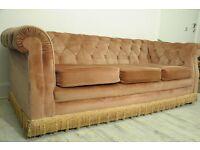 Vintage Original Chesterfield Three Seater Sofa