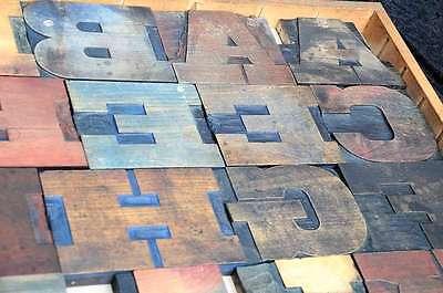 Antique Rare Alphabet 44pcs - 5.20 Wood Printing Blocks Letterpress Wooden Type