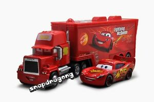 Disney-Pixar-Cars-No-95-Lightning-McQueen-MACK-Hauler-Truck-Lot-of-2-Set-Toy