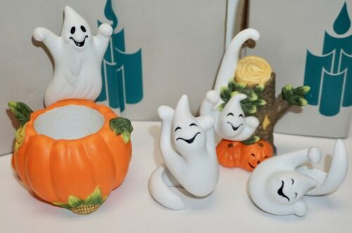 LOT OF PARTY LITE GHOST VOTIVE HOLDER, SNUFFER, & GHOST CANDLE ORNAMENTS CANDLES
