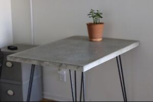 Patio table / dining table / desk concrete top and hairpin legs