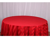 Red Satin Stripe Tablecloths (6 Available) - Perfect for weddings & occasions