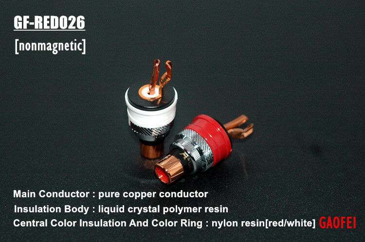 One set Gaofei GF-RED026 Swiss Pure Red Copper RCA terminal socket connector